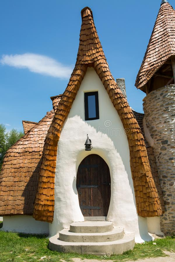 Clay Castle, The Valley of the Fairies. Castelul de Lut, Valea Zanelor, Transylvanian Hobbit hotel built out of clay and sand stock photos