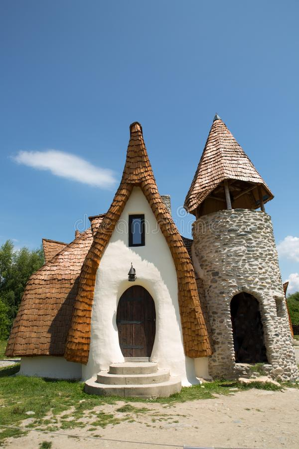 Clay Castle, The Valley of the Fairies. Castelul de Lut, Valea Zanelor, Transylvanian Hobbit hotel built out of clay and sand stock image