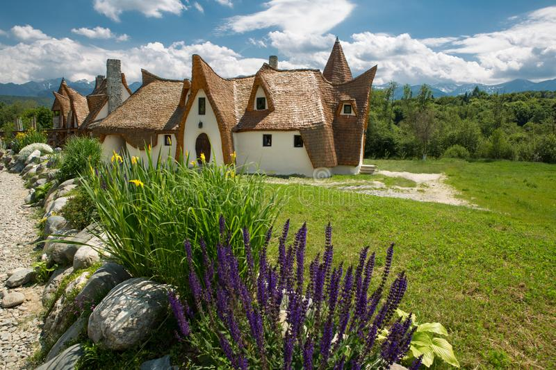 Clay Castle, The Valley of the Fairies. Castelul de Lut, Valea Zanelor, Transylvanian Hobbit hotel built out of clay and sand royalty free stock photography