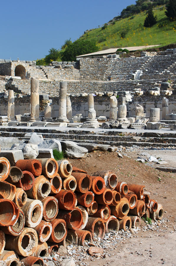 Clay chimney pots found at Ephesus royalty free stock images