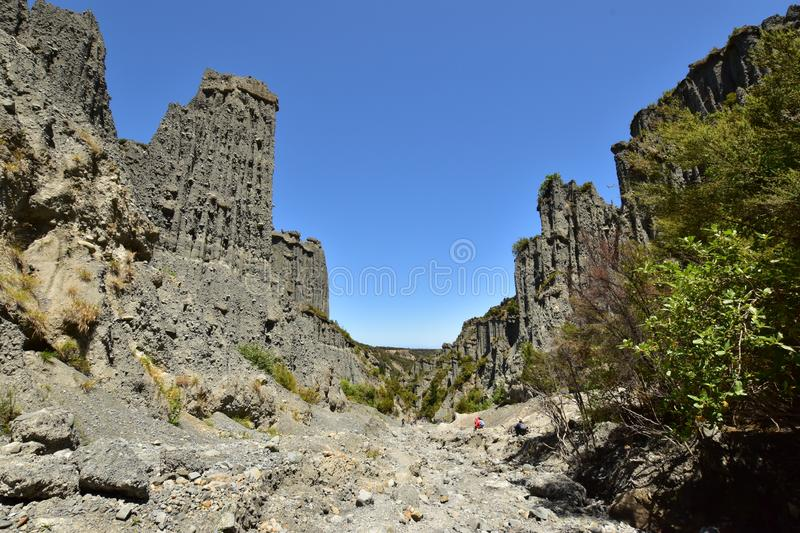 A clay cliff rock towers in desert landscape in Cape Palliser New Zealand stock photo