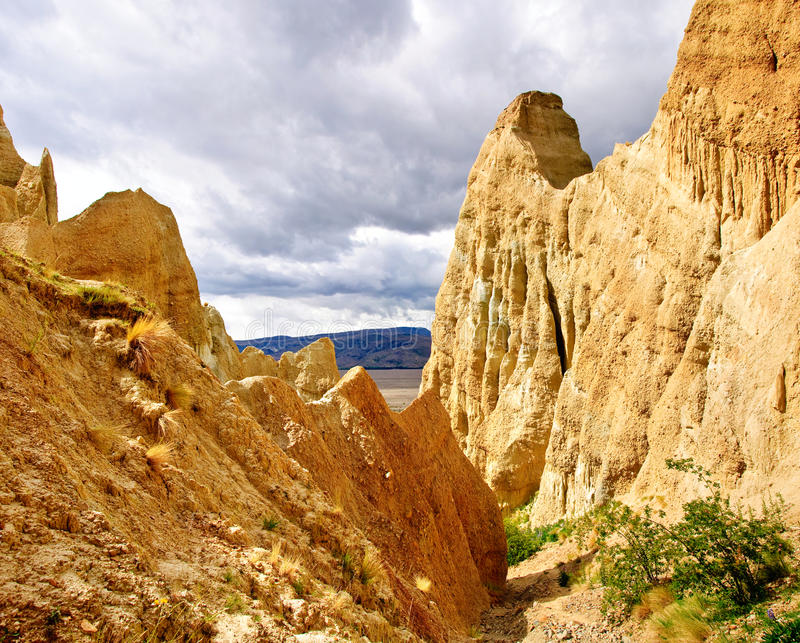 Clay cliffs. Eroded limestone cliffs near Omarama in the South Island of New Zealand stock photography