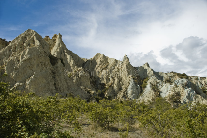 Clay cliffs. Filming location of Lord of the Rings trilogy. South Island. New Zealand royalty free stock images