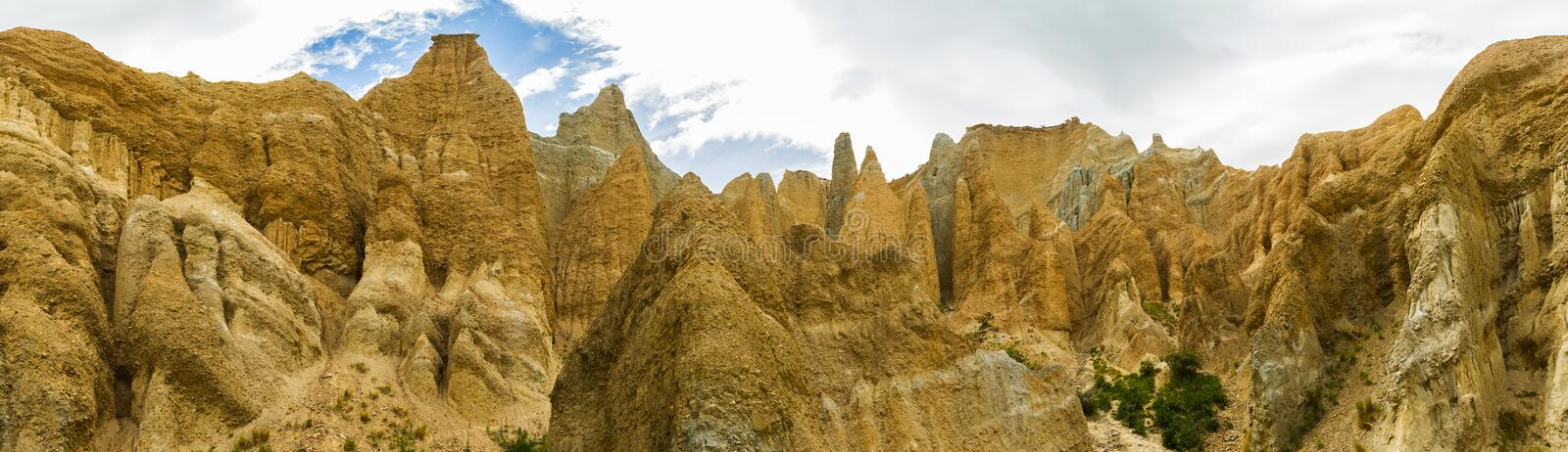 Clay Cliffs nahe Omarama lizenzfreies stockfoto