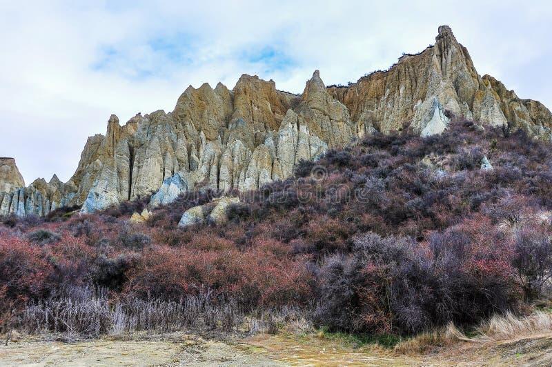 Clay Cliffs vicino a Omarama, Nuova Zelanda fotografia stock libera da diritti