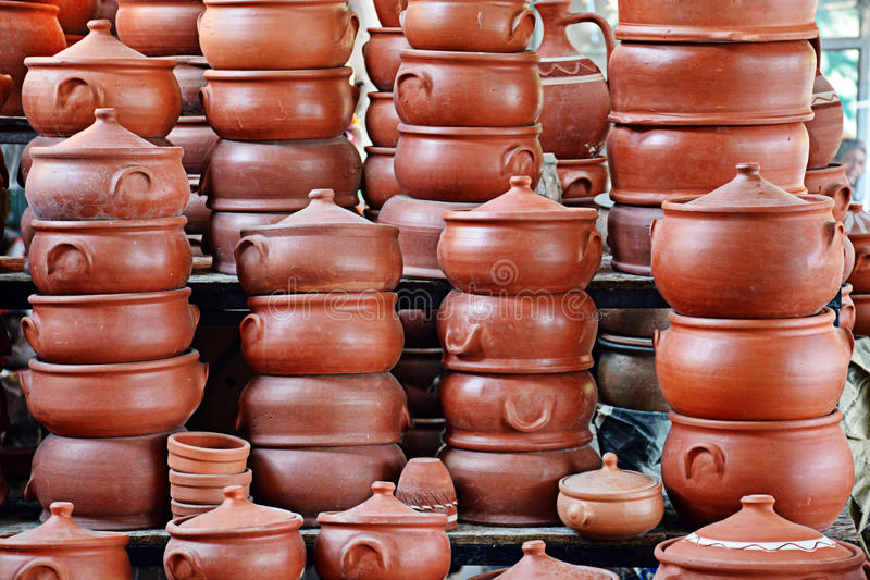Clay Cooking Pots stock foto's