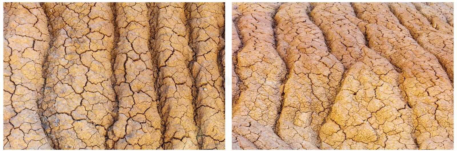 Dirt soil cracked eroded ruts pattern collage. The clay desert hot dry arid soil dirt backgrounds has texture and patterns of eroded ruts and grooves caused by stock photos