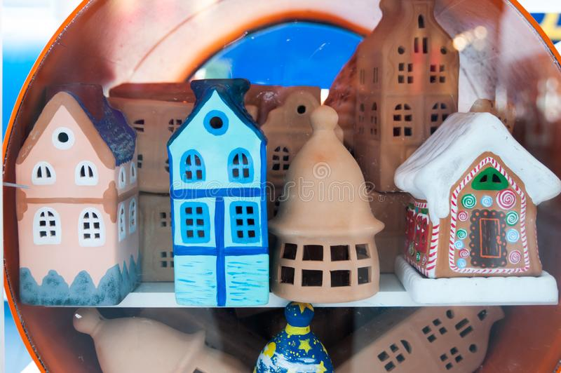 Clay doll houses, children`s crafts. Beautiful Clay doll houses, children`s crafts stock images