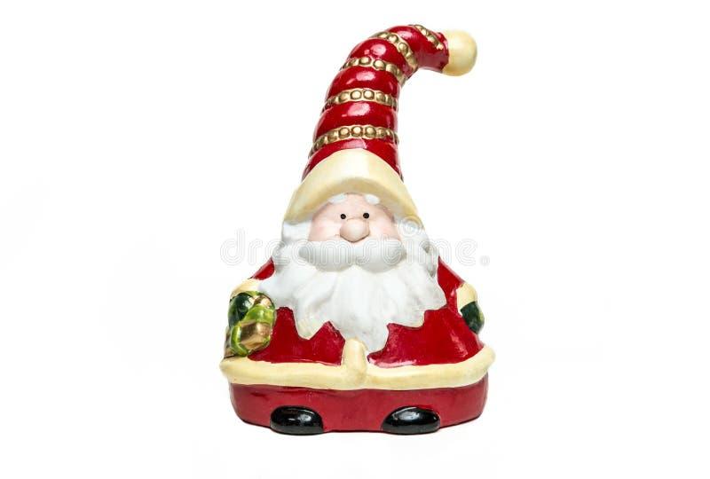 Clay Doll Santa Claus met klok op witte achtergrond Vrolijke Kerstmis voorzijde royalty-vrije stock foto's