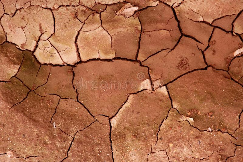Clay dried red soil cracked texture background. Dry erath stock images