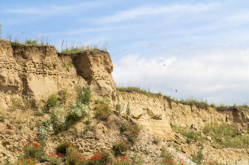 Clay hill in Ukraine. Clay and sand hill in Ukraine royalty free stock photography