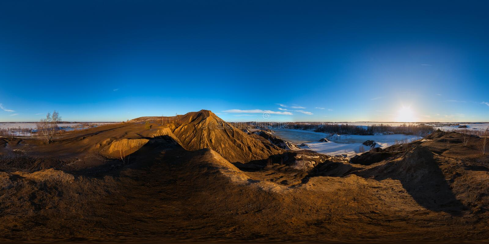 Clay hills quarry at sprig sunset spherical 360 degree panorama in equirectangular projection stock photos