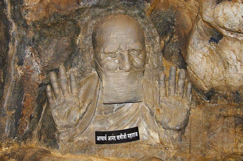 Clay idol of Aacharya Anand Rushiji Maharaj, Sant Darshan Museum, Hadashi. Maharashtra, India stock image