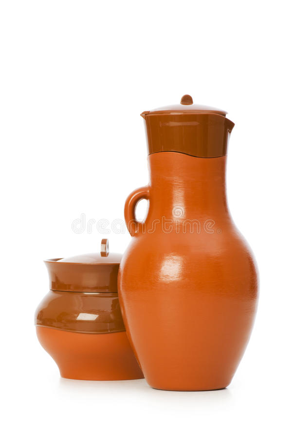 Clay jars isolated royalty free stock photo
