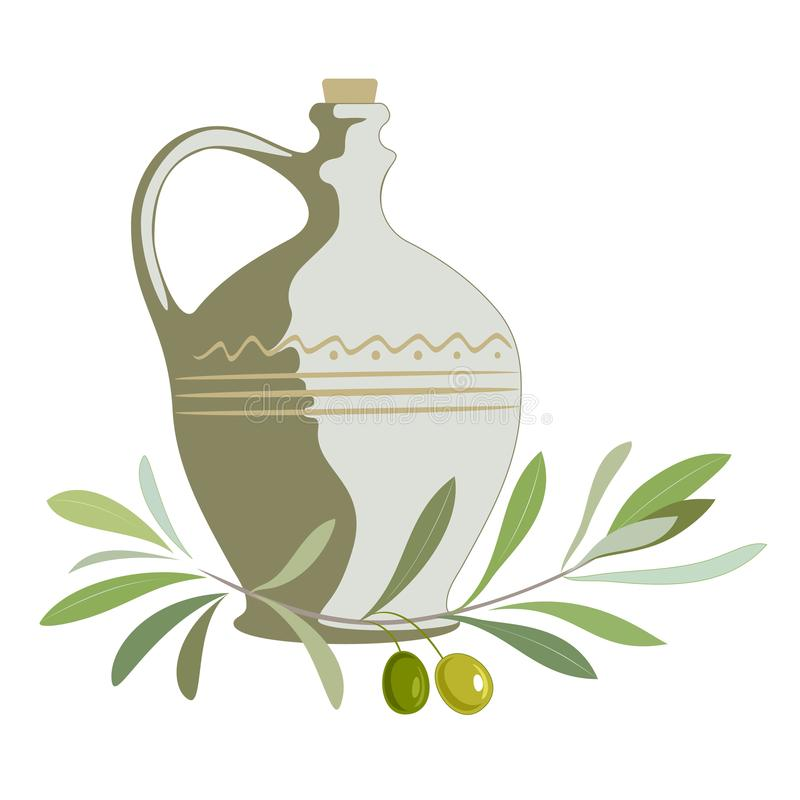 Clay jug with olive oil and olive branch. vector illustration