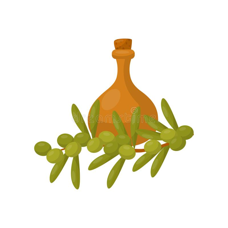 Clay jug of olive oil and a branch of a plum tree vector Illustration on a white background royalty free illustration