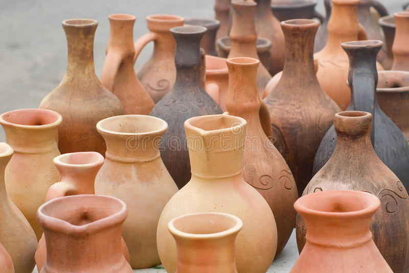 Download Clay jugs stock image. Image of figuline, shaggy, handmade - 16800753