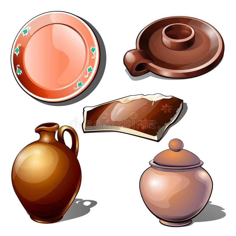 Clay jugs, utensils and fragment with floral ornament. Thematic five icons isolated. Vector in cartoon style stock illustration