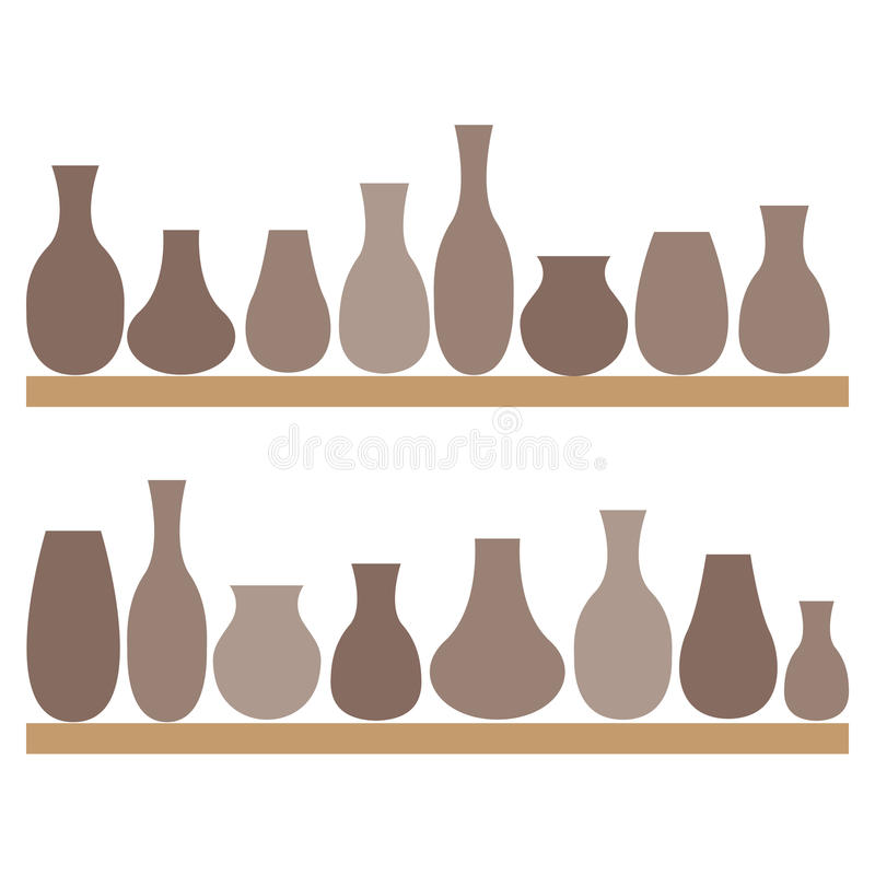 Clay jugs and vases on the shelves. Pottery. vector illustration