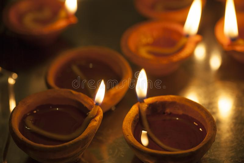 Clay lamp burning for Diwali royalty free stock image