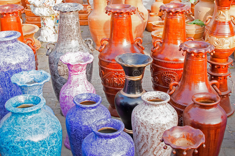 Download Clay Made Flower Vases, Handicraft Items On Display , Kolkata Stock Photo - Image: 83703222