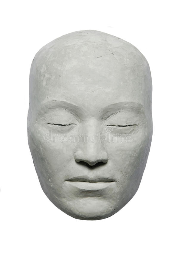 Clay mask. Human face mask blindly east type, executed from clay stock image