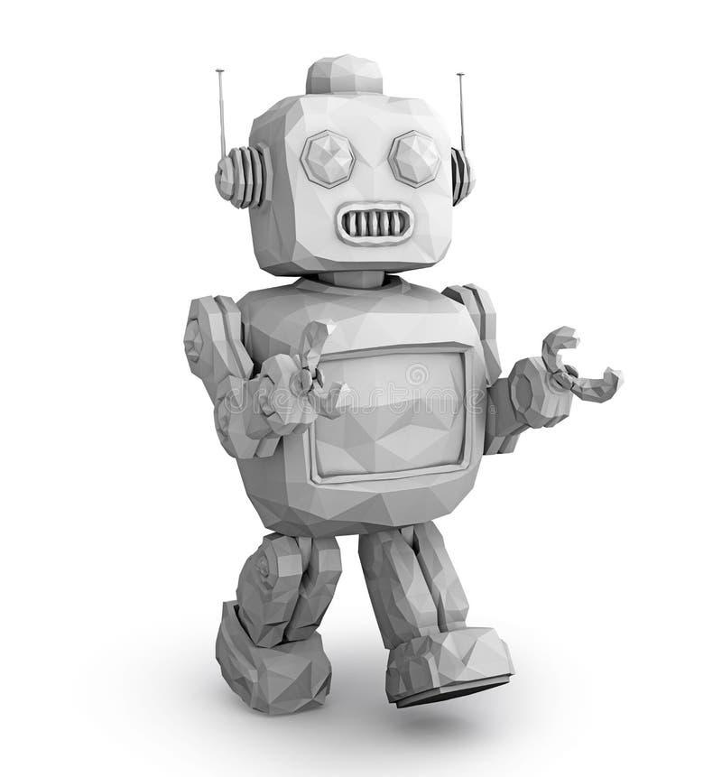 Clay model rendering of retro robot royalty free illustration