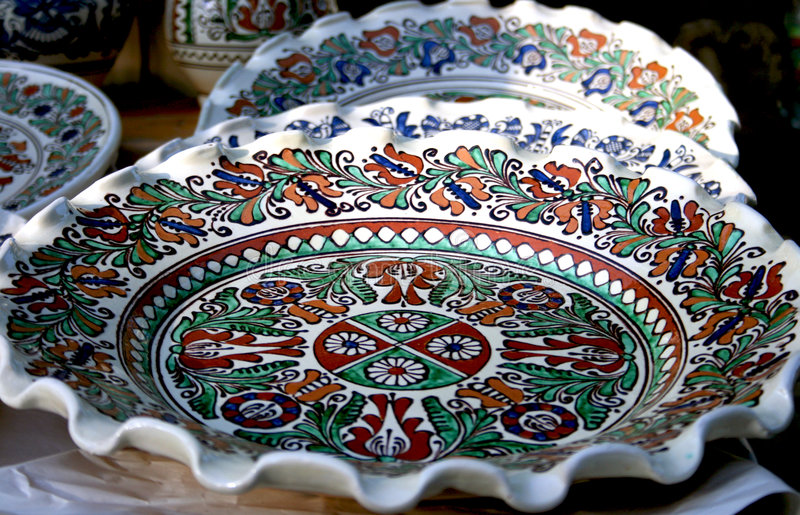 Clay plate. Painted clay plate from romanian peasant museum royalty free stock image
