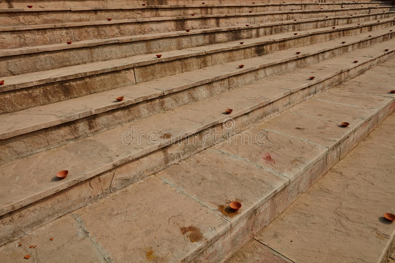 Clay plates arranged on the stairs for diwali celebration in Ind. Ia stock photo
