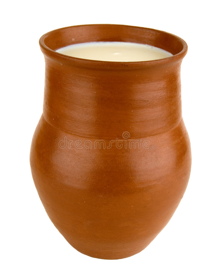 Clay pot. Of manual work. It is possible to store milk or other liquid royalty free stock image