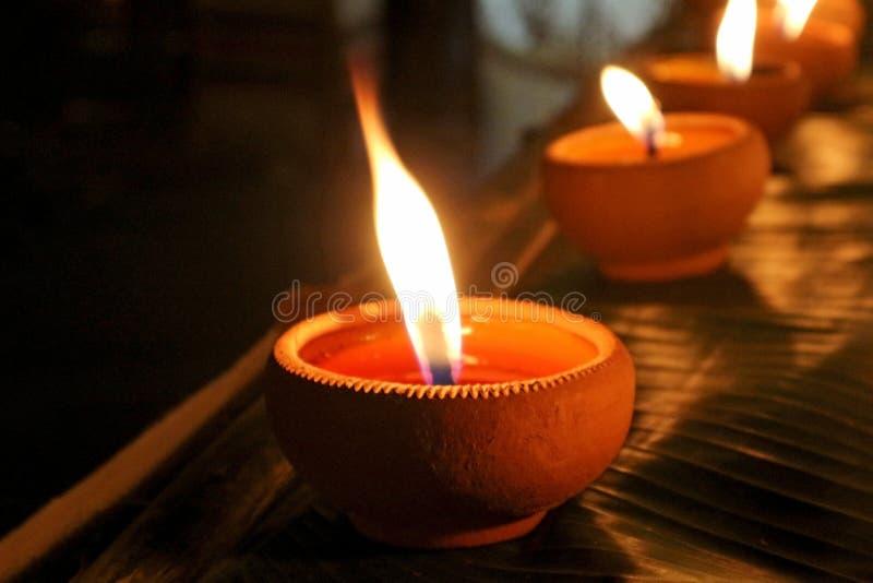 Clay Pot Candle tradizionale al festival d'accensione fotografie stock libere da diritti