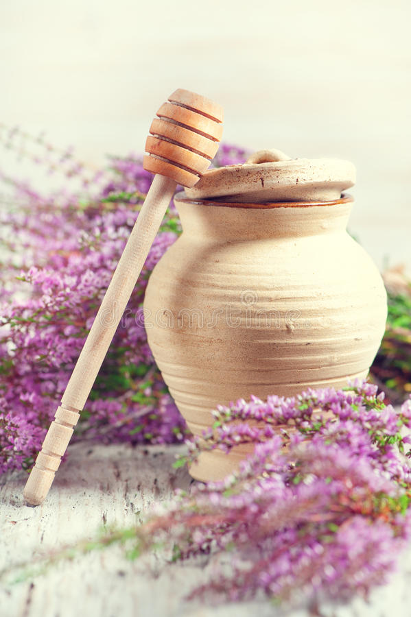 Clay pot, dipper and heather. Clay pot, dipper and branches of heather royalty free stock photography