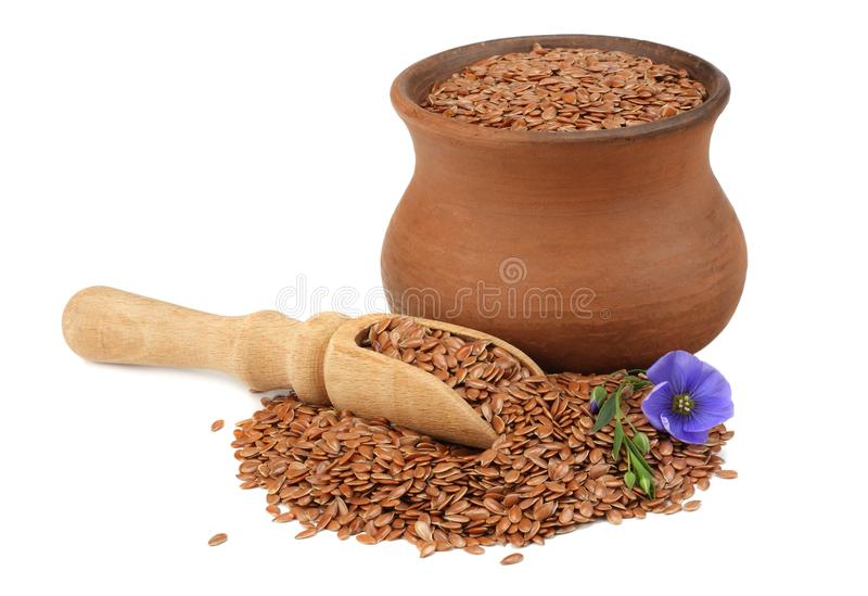 Clay pot with flax seeds and flower isolated on white background. flaxseed or linseed. Cereals. stock photos