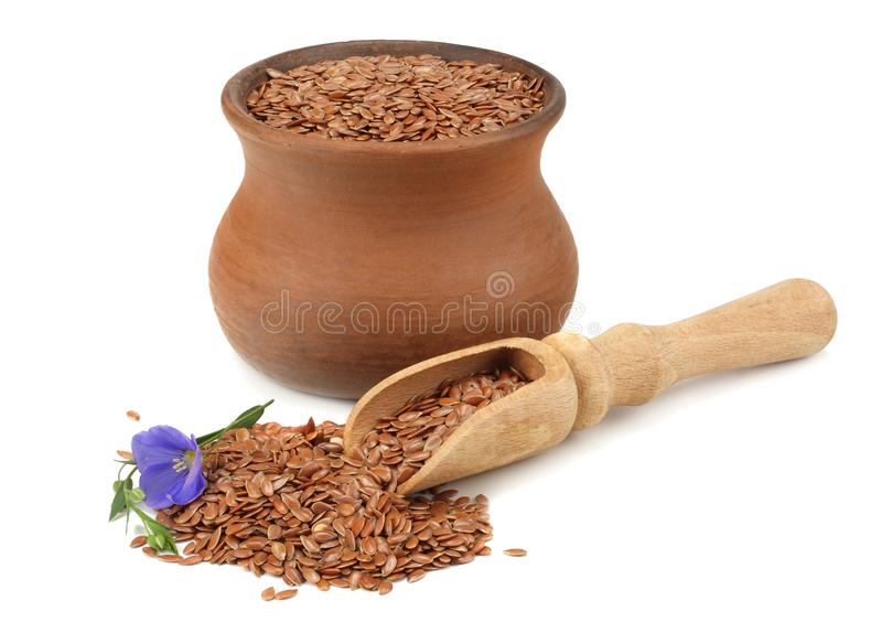 Clay pot with flax seeds and flower isolated on white background. flaxseed or linseed. Cereals. stock photography