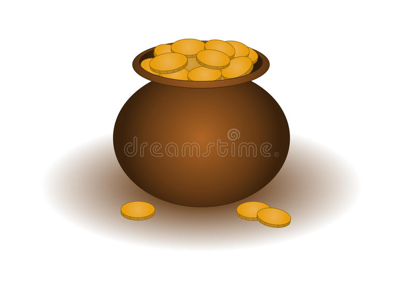 Clay pot with gold vector illustration
