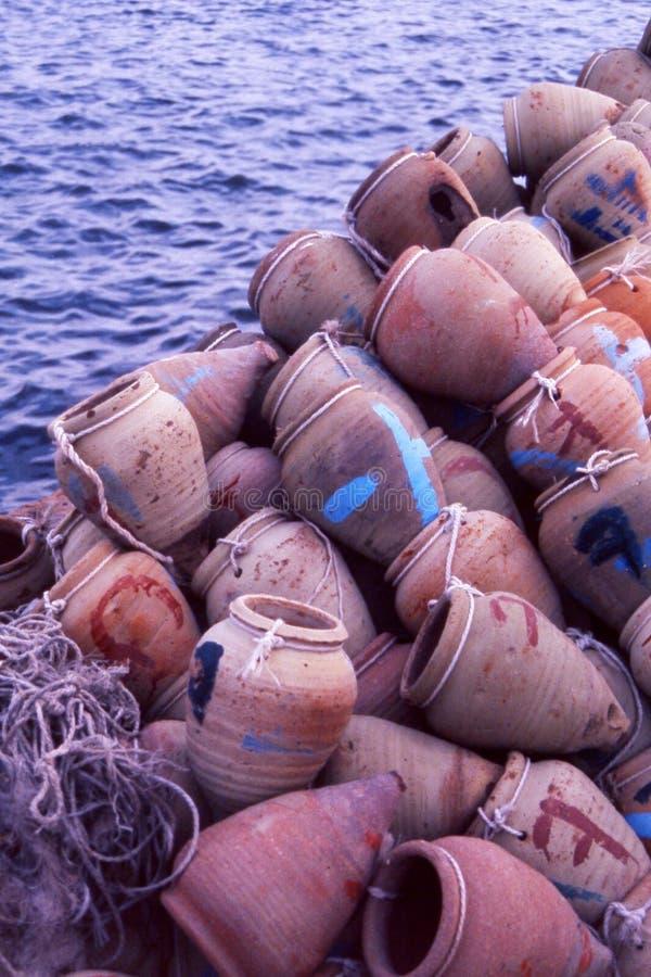 Clay pots. On a boat - in Djerba - Tunisia stock image