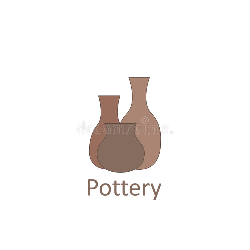 Clay pots. The emblem or logo pottery workshop and store. stock illustration