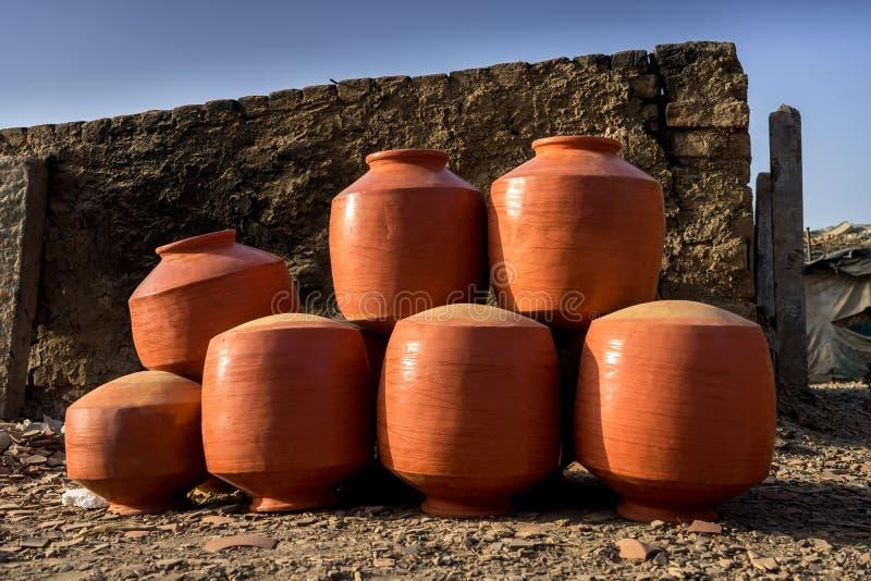 Clay Pots - la India foto de archivo