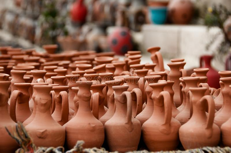 Clay pots in the market on the street royalty free stock photos