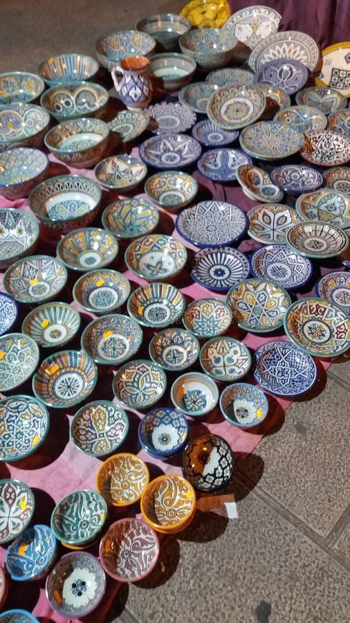 Clay pots medieval market Santander stock image