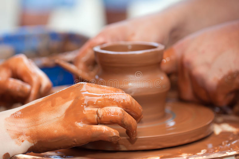 Clay potter hand. Pottery craft wheel ceramic clay potter human hand royalty free stock photos