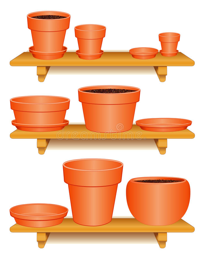 Free Clay Pottery Collection, Wooden Shelves Royalty Free Stock Image - 20759136