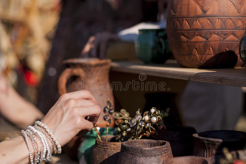 Clay products on the counter royalty free stock images