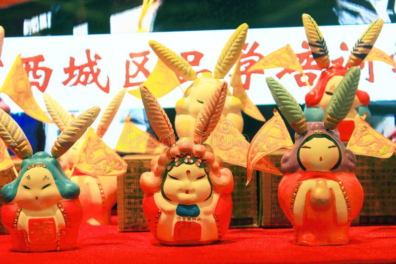 Clay rabbit. The rabbit is Beijing city where traditional crafts, children`s toys should belong to the mid autumn festival. People in accordance with the chang e royalty free stock photography