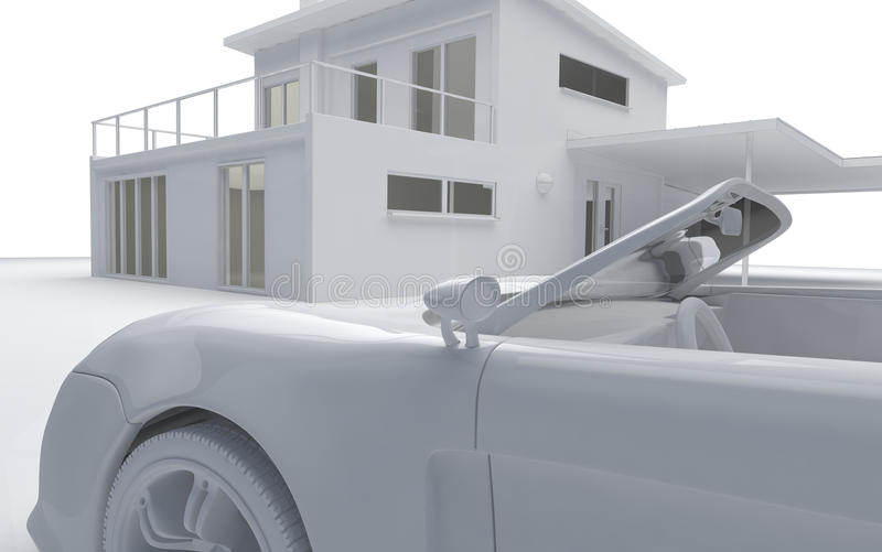 Download Clay Render Of Car And House Stock Illustration - Image: 15903883