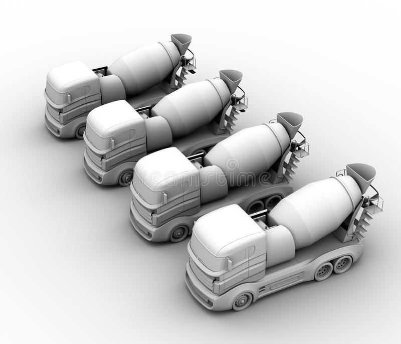 Clay rendering of concrete mixer trucks on white background. 3D rendering image royalty free illustration