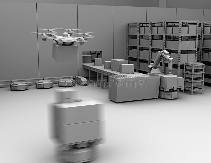Clay rendering of modern warehouse equipped with robotic arm, drone and robot carriers vector illustration