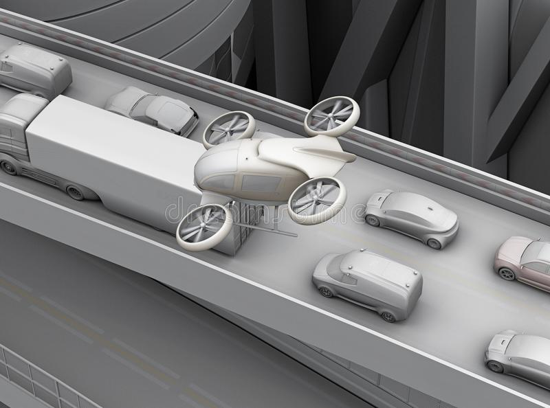 Clay rendering of passenger drone flying over cars in heavy traffic jam. 3D rendering image vector illustration