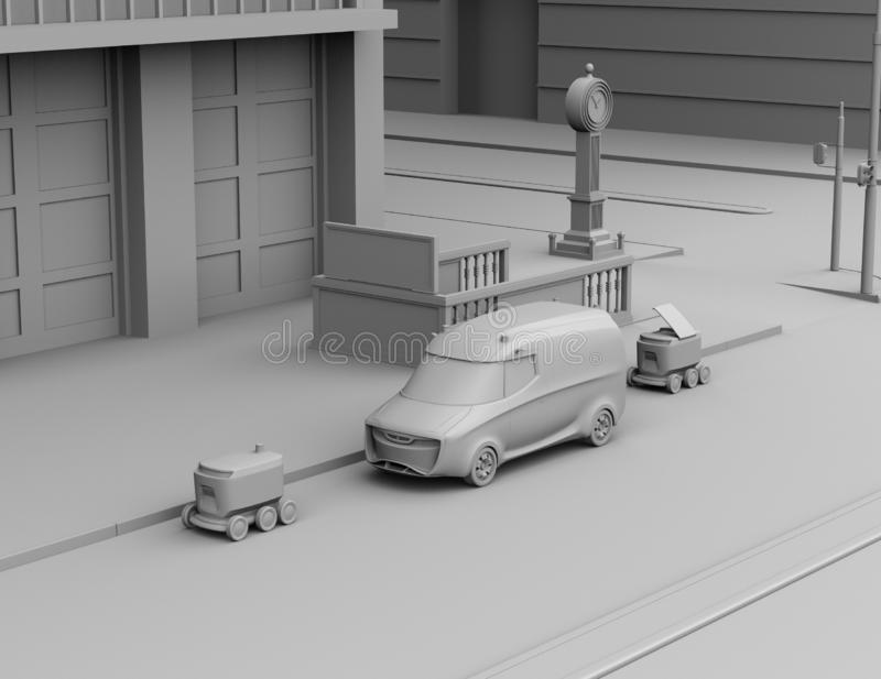 Clay rendering of self-driving delivery robots and delivery van on the street vector illustration