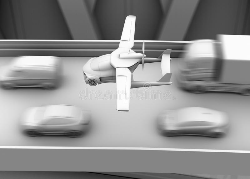 Clay shading rendering of futuristic flying car flying over traffic jam in the highway. 3D rendering image stock illustration